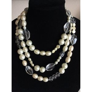 Chico's Faux Pearl Large Crystal Collar Necklace
